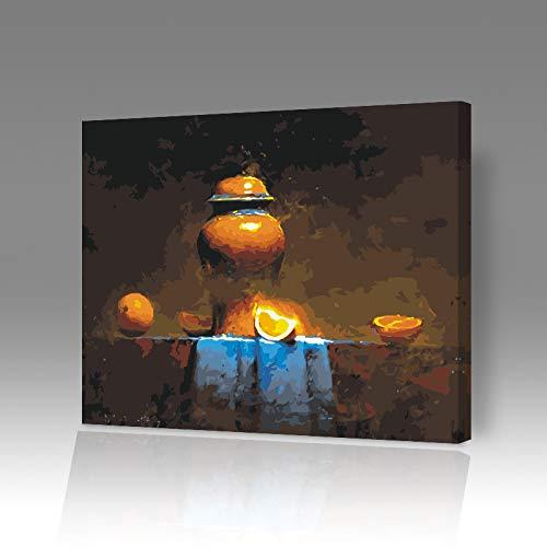 DIY Digitale Olieverfschilderij Kleurplaten Handgeschilderd Geschilderd Cartoon Anime Decoratieve Schilderij Ht233 Oranje Vaas Frameloze 40x50cm