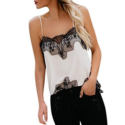 Luckycat Mujeres Camiseta Sin Mangas Encaje Chaleco Casual Tops Blusas Verano Estampado de Leopardo