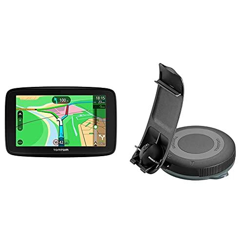 TomTom Via 53, GPS Navegación con Pantalla táctil de 5 Pulgadas, Mapa de 48 países + Soporte Reversible para Todos los navegadores Start y Via, Negro