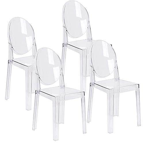 LAFII.T Klarer Esszimmerstuhl Transparente Make-up-Seitenstühle Kunststoff-Küchenstühle Demontiert und Nicht stapelbar, 4er-Set