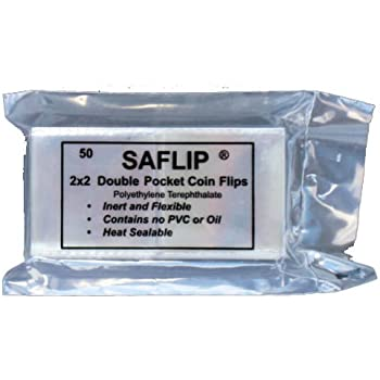Double Pocket 2x2 Coin Flips High Museum Quality Clear 50 Safe Coretek Holders