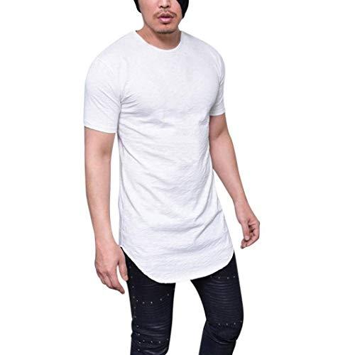Camicia Uomo Lhwy Uomo Uomo Slim Shirt O Estate T Comodo Fit Collo Manica Corta Confortevole Felpa Traspirante Tinta Unita Lungo Abbigliamento Casual Tops Camicetta (Color : Bianca, Size : 3XL)