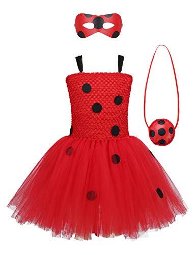 MSemis Disfraz de Mariquita Niñas Traje Ladybug con Lunares Halloween Vestido Tutú Fiesta Princesa Navidad Carnaval con Accesorios Cosplay Rojo B 7-8Años