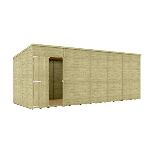 18 x 6 Pressure Treated Hobbyist Pent Shed Tongue & Groove Shiplap Cladding Construction Windowless Offset Door OSB Floor Wooden Garden Shed 5.48m x 1.82m