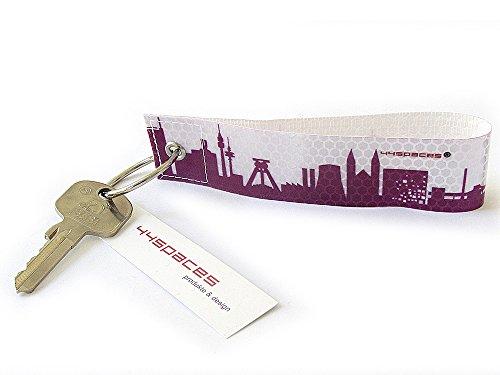 44spaces Ruhrpott - Schlüsselanhänger Reflexanhänger aus Reflektierender Folie - Druck in Lila - Handmade