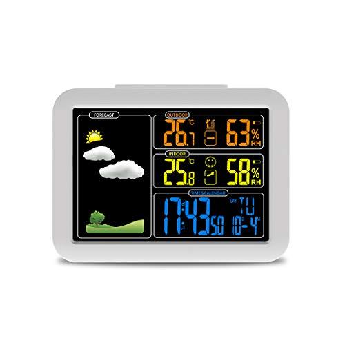 Funkempfangsuhren-Wetterstation mit Temperatur-Feuchtesensor Bunte LCD-Wettervorhersageuhren (Color : White, Größe : 13.5 * 10cm)