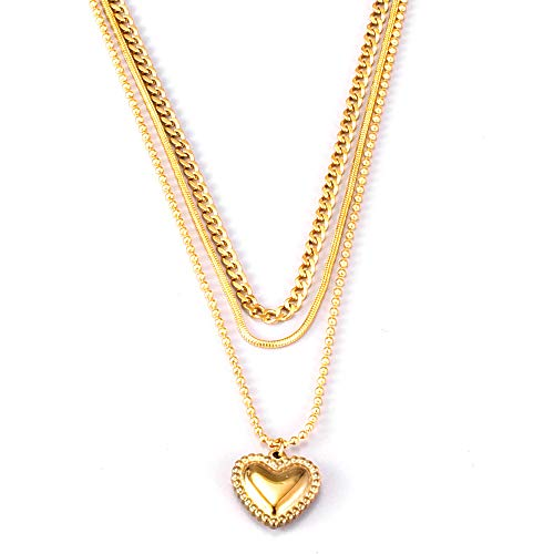 ARZASGO Dainty Heart Necklace, 18K Gold Plated Heart Choker Multilayer Necklace Pendant Jewelry Gift for Women Girls