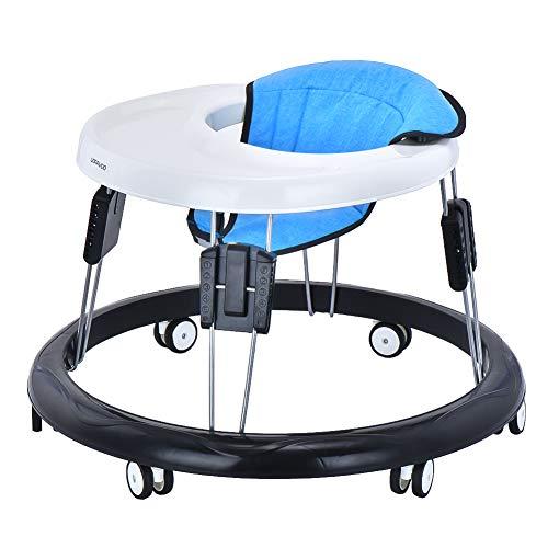 Baby Lauflernhilfe, Baby Gehfrei Justierbar mit Leicht zu Reinigendes Tablett, 9 Höheneinstellung und 6 Universalrädern, Gehfrei Lauflernhilfe Baby ab 6 Monate (Flachs Blau)