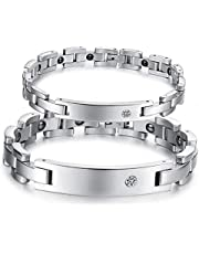 His and Her Rhinestone Stainless Steel Magnetic Bracelet, 2 Piece Set