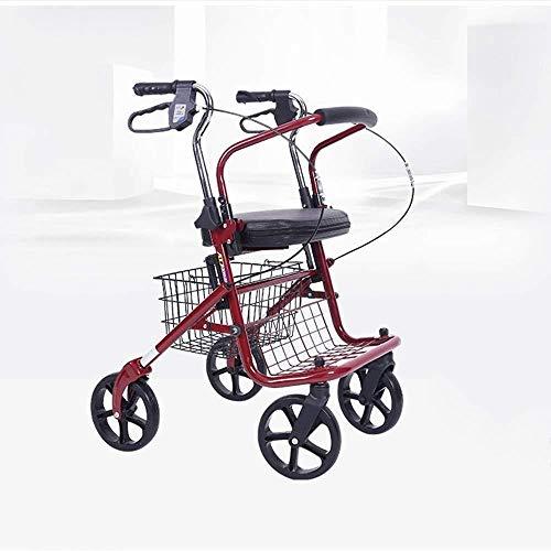 ZhuFengshop winkelwagentjes Winkelwagen Lichtgewicht Hulpvoertuig Handicapped Trolley Vierwielig Voertuig Anti-vallen Gevouwen Trolley Thuis, Buiten