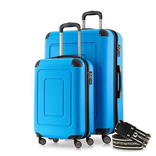 Happy Trolley - 2er Koffer-Set Trolley-Set Rollkoffer Hartschalen-Koffer Reisekoffer Lugano sehr leicht, TSA, (S+XL), Cyan Blau +Gepäckgurt