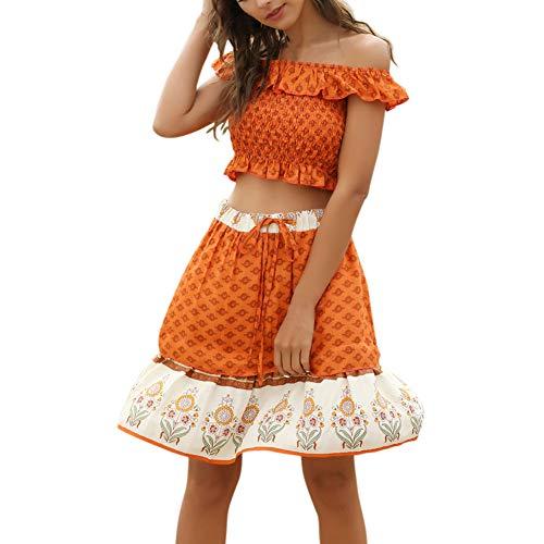 Frauen Lässig Anzüge Wort Schulterfrei Kurzes Kragen Tops Modernas Riemchen A Linie Looseröcke Sommer Young Fashion Boho Blumendrucken Zweiteilig (Color : Orange, Einheitsgröße : XL)