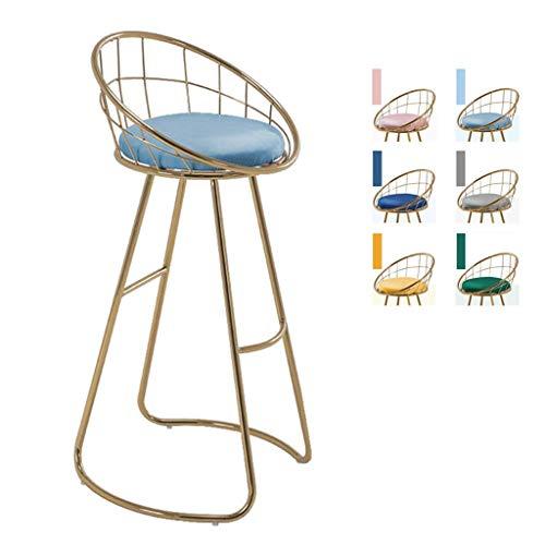 HLWJXS Barhocker, Bar, Restaurant, Stuhl, Homemodern Mit Kronenförmiger Rückenlehne Pub Dining Chair Hohe Hocker Gold Schmiedeeisen Beine Sitzhöhe,Hellblau,75 cm (29,5 Zoll)
