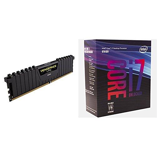 Corsair Vengeance LPX 16GB (2x8GB) DDR4 3200MHz C16 XMP 2.0 High Performance Desktop Arbeitsspeicher Kit + Intel Core i7-8700K Processor (6x 3.7 GHz Taktfrequenz, 12 MB L3-Cache, Boxed ohne Kühler)