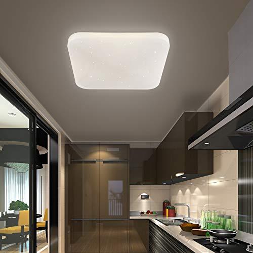 Plafoniera LED Bagno Cucina Camera da letto lampada a soffitto LED Soggiorno Sala da pranzo Balcone Corridoio Moderno Quadrata Plafoniere LED impermeabile Bianco naturale 4000K 2050lm 26W LUSUNT