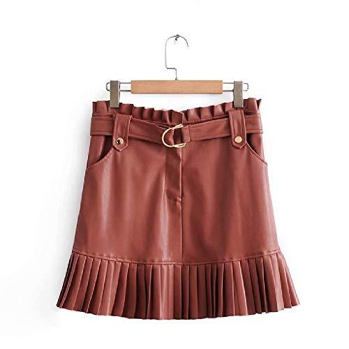 N\P Negro De Cuero Faldas De Las Mujeres De Cuero De Imitación Falda Laides Una Línea De Faldas De Corea De Cintura Alta Falda Mini Femenina Faldas Cortas Con Bolsillos
