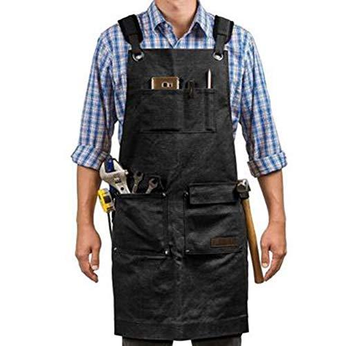 GXLO Werkzeugschürze Gewachste Leinwand Multifunktionale Arbeitsschürzen Ingenieure Carpenter Painting Schürze/Taschen für Männer und Frauen,Black,80x60cm