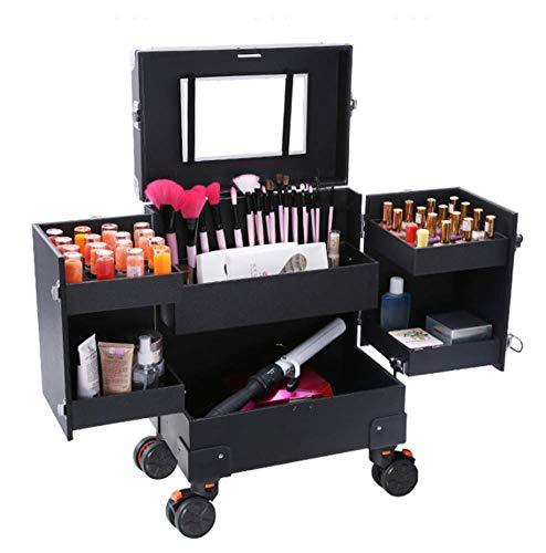 TYPING Beauty Case Maleta Multiusos Tipo Trolley Maletín para Maquillaje Estuche Superficie De PU Cerradura De Seguridad Adecuado para Barbero Maquillador,Negro