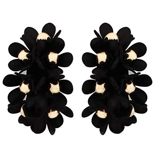 MoHHoM Earrings Women,Hoop Fabric Round Earrings Floral Circle Statement Earrings Pendientes Gifts For Girlfriend Charm Fashion Drop Dangle Earrings Jewelry For Women Ladies,Black