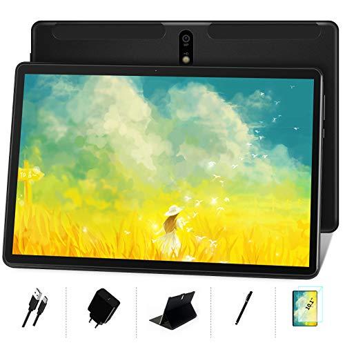 MEBERRY Tablet 10 Pollici 8 core 1.6 GHz 4GB RAM 64GB ROM Android 10 Pro Ultra-Veloce Tablets PC,128 GB Espandibile | Doppia Fotocamera(5MP+8MP) | 8000mAh | Solo WiFi | GPS | Google GMS, Nero