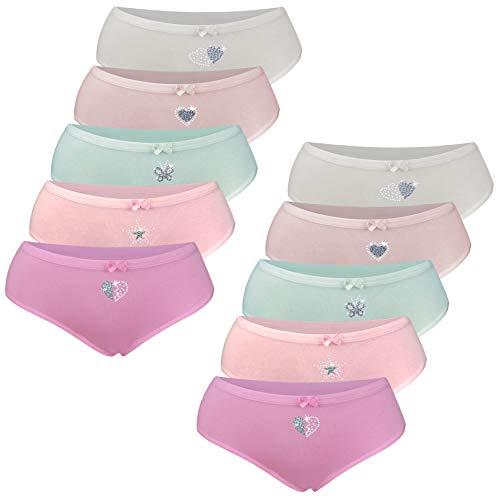 LOREZA ® 10 Mädchen Baumwolle Strass & Glitzer Slips (104-110 (4-5 Jahre), 10er Set)
