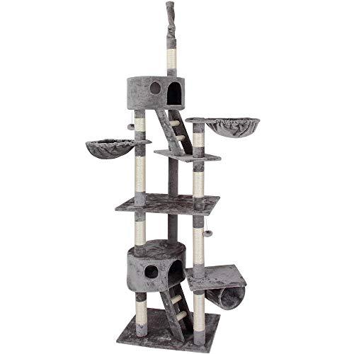 Deuba CADOCA Katzenkratzbaum 240-260cm Stabiler Kratzbaum Höhenverstellbar 2 Katzenhöhlen 2 Liegemulden Katzenbaum Deckenhoch grau