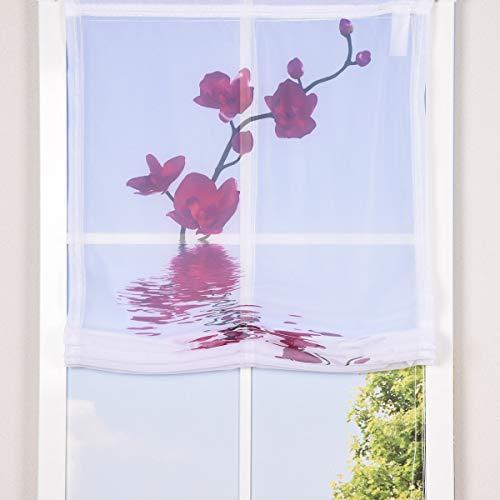 SCHÖNER LEBEN. Raffrollo Rollo Voile Digitaldruck Orchidee Fuchsia weiß, Auswahl:80x140cm (BxH)