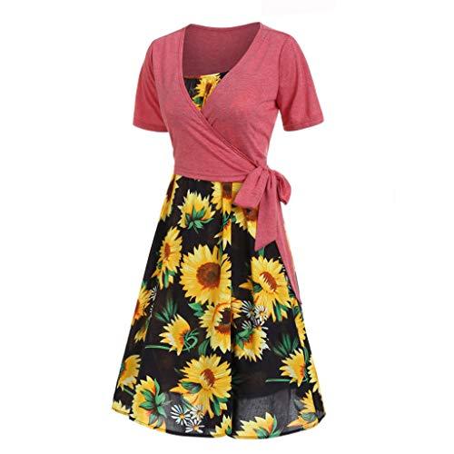 Womens Sunflower A-line Dress Short Sleeve Deep V-Neck Shirt Dress Slim Short Swing Sundress Knee Length Midi Dress
