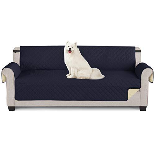Sofabezüge wasserdichte Sofa Überwürfe mit elastischen Riemen Anti-Rutsch-Schaum für das Wohnzimmer Schutz für Hunde Vor Haustieren, Verschütten, Abnutzung und Riss schützen (Dunkelblau, 4 Sitzer)