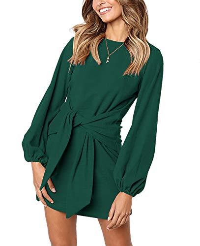 PRETTYGARDEN Women's Elegant Long Lantern Sleeve Short Dress Crewneck Tie Waist Knit Cocktail Dress Dark Green