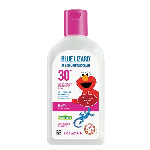 Blue Lizard Baby Mineral Sunscreen with Zinc Oxide, SPF 30+, Water Resistant, UVA/UVB Protection with Smart Bottle Technology - Fragrance Free, 8.75 oz