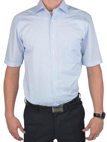 Olymp Hemd slim line, bügelfrei bleu, kariert New Kentkragen in kurzarm (12cm), Größe 44 - XL