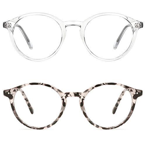 TIJN Blaue Licht Blockieren Brille Blaulichtfilter Brille Blueblocker Brille Anti-Blaulicht ohne sehstärke Computer Brillen (19-Transparent+Weiße Schildkröte)