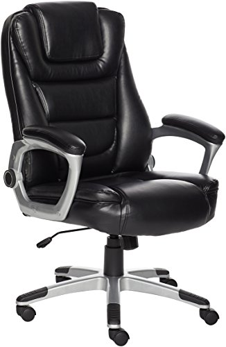 AmazonBasics Bonded Leather High-Back Office Chair, Easy Tool-Free Assembly - Black, BIFMA Certified