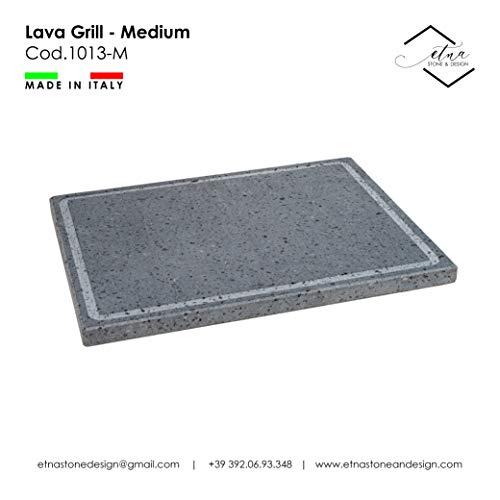 Etna Stone & Design - Parrilla de lava con piedra volcánica y placa pulida para horno y barbacoa, para cocinar carne, pescado, verduras y pizza