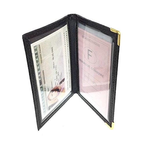 LOLUNA® - Porte carte d'identité et permis de conduire en petit format compact, fin et plat, en cuir dans plusieurs couleurs - Noir