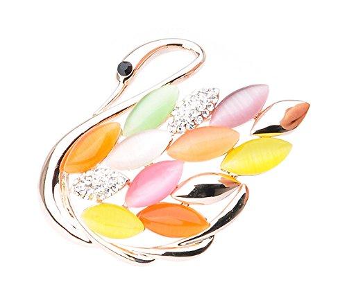 Mode Colorful Swan Crystal & diamant Parti Broche Vêtements Accessoires