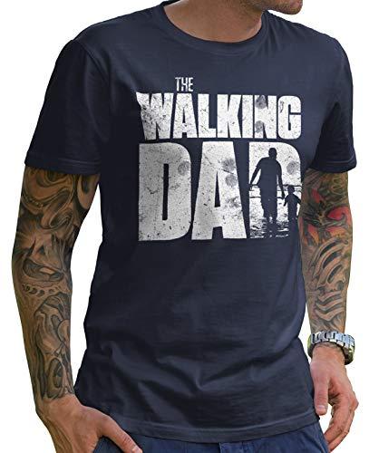 Stylotex Lustiges Herren Männer T-Shirt Basic | The Walking Dad | Geschenk für werdende Papas, Größe:S, Farbe:Navy (4100)