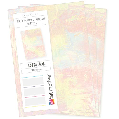 TATMOTIVE Motivpapier Briefpapier Pastell 50 Blatt, DIN A4 90g bunt beidseitig Kunst