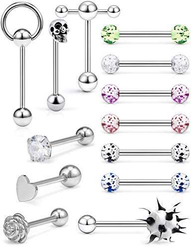Hoeudjo 13Pcs 14G Surgical Steel Tongue Rings Teaser Double Barbell with Slave Ring Body Piercing Jewelry for Women Men 16mm Silver-Tone Heart Diamond Flower