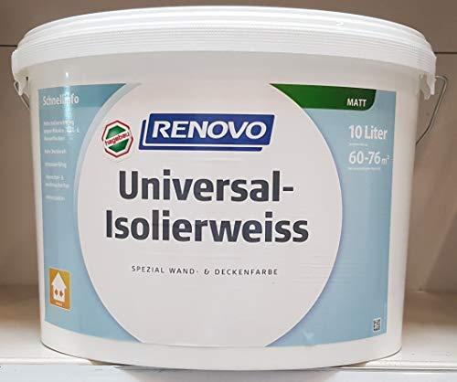 RENOVO 10 Liter Isolierweiss gegen Nikotin. Ruß- und abgetrocknete Wasserflecken