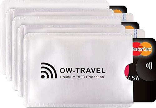 Custodie Blocco RFID - ANTI FRODE - La Protezione di Carte di Credito/Debito e di Identità per Portafogli Passaporto - Isolamento Chip Contactless RFID e Radio NFC (Protectores Tarjeta 5)