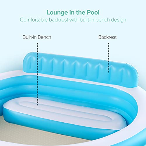 Sable Inflatable Pool, Blow Up Swimming Pool, for Family Party Water Sports with Backrest and Built-in Bench, Blue