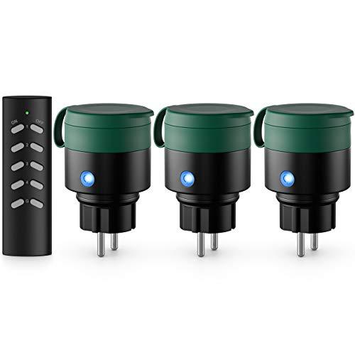 deleyCON Outdoor Funksteckdosen Set Kompakt 3+1 für Außenbereich IP44 Garten Terrasse Balkon Garage Kindersicherung 4-Kanal Fernbedienung schaltbare Steckdosen