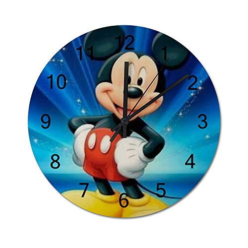 YANVCXRF Mickey Mouse Happy Dance Wooden Wall Clock Decorative Home Decor Digital Clock Battery Operated Round Easy to Read Home/Office/School/Living Room/Kitchen/Bedroom Kids Clock