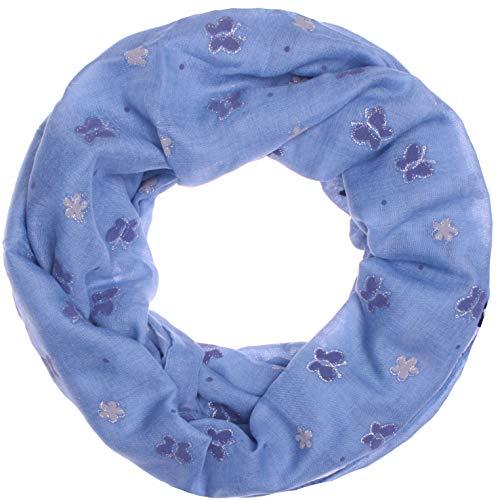 Zarter Sommer Loopschal Model: Kleine glitzer Schmetterlinge & Blüten angenehm und leicht zu tragen, Damen Schal, Sommerschal (10149) (jeansblau)