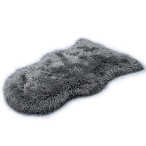 JSM Faux Lammfell Schaffell Teppich (60 x 90cm) Lange Haare Flauschig Lammfellimitat Teppich kunstfell Fell Bettvorleger Wohnzimmer Nachahmung Wolle Sofa Matte (Grau)