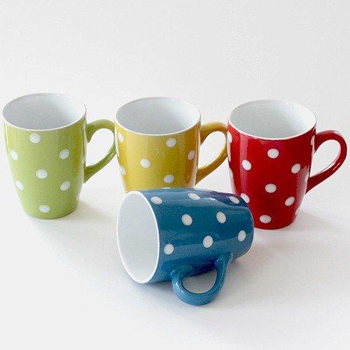 Tassen Becher 4er Set je 11 cm Kaffeetassen Kaffeebecher gepunktet blau rot gelb grün Klassiker