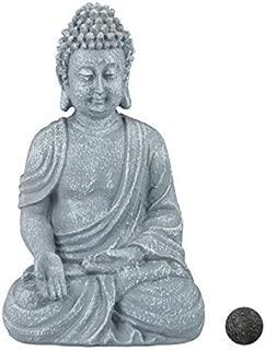 relaxdays Estatua Buda Sentado para Jardín o Salón, Resina