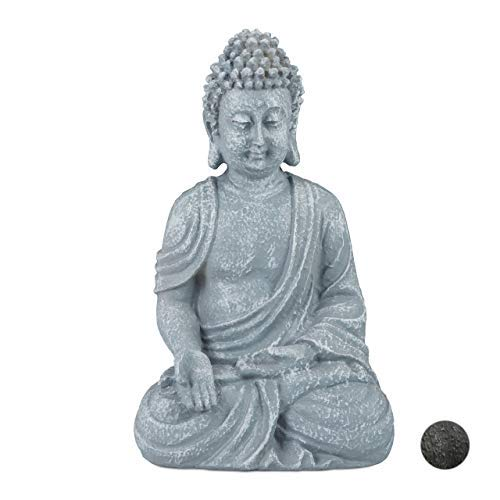 relaxdays Estatua Buda Sentado para Jardín o Salón, Resina Sintética, Gris Claro, 18 cm, polirresina